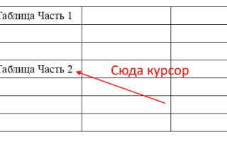 Как на две части разорвать таблицу в Ворде 2003, 2007, 2010, 2013 и 2016